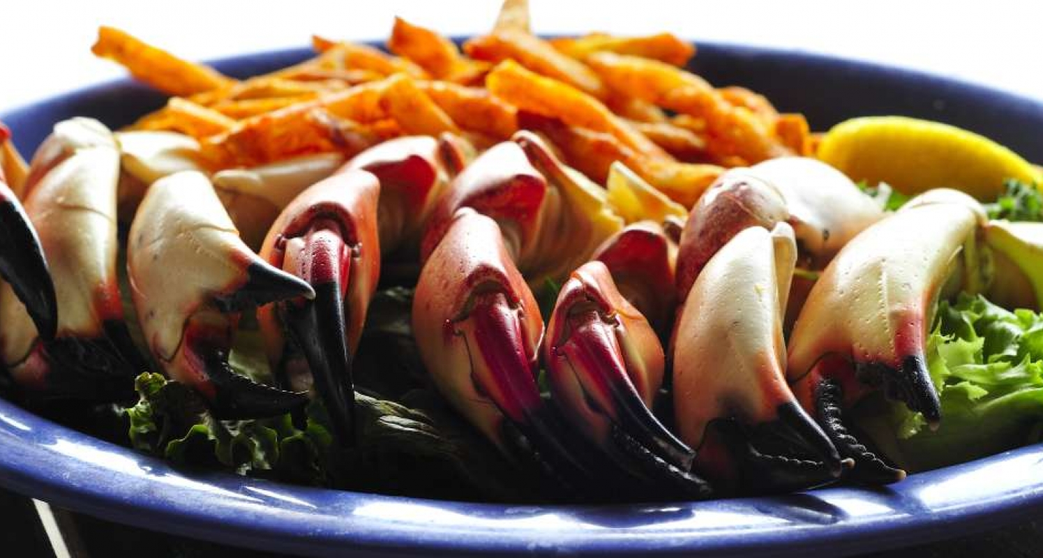 stone crab claws and fries