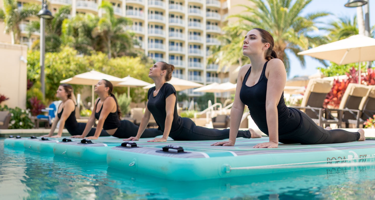A Floating Yoga Class in a Pool