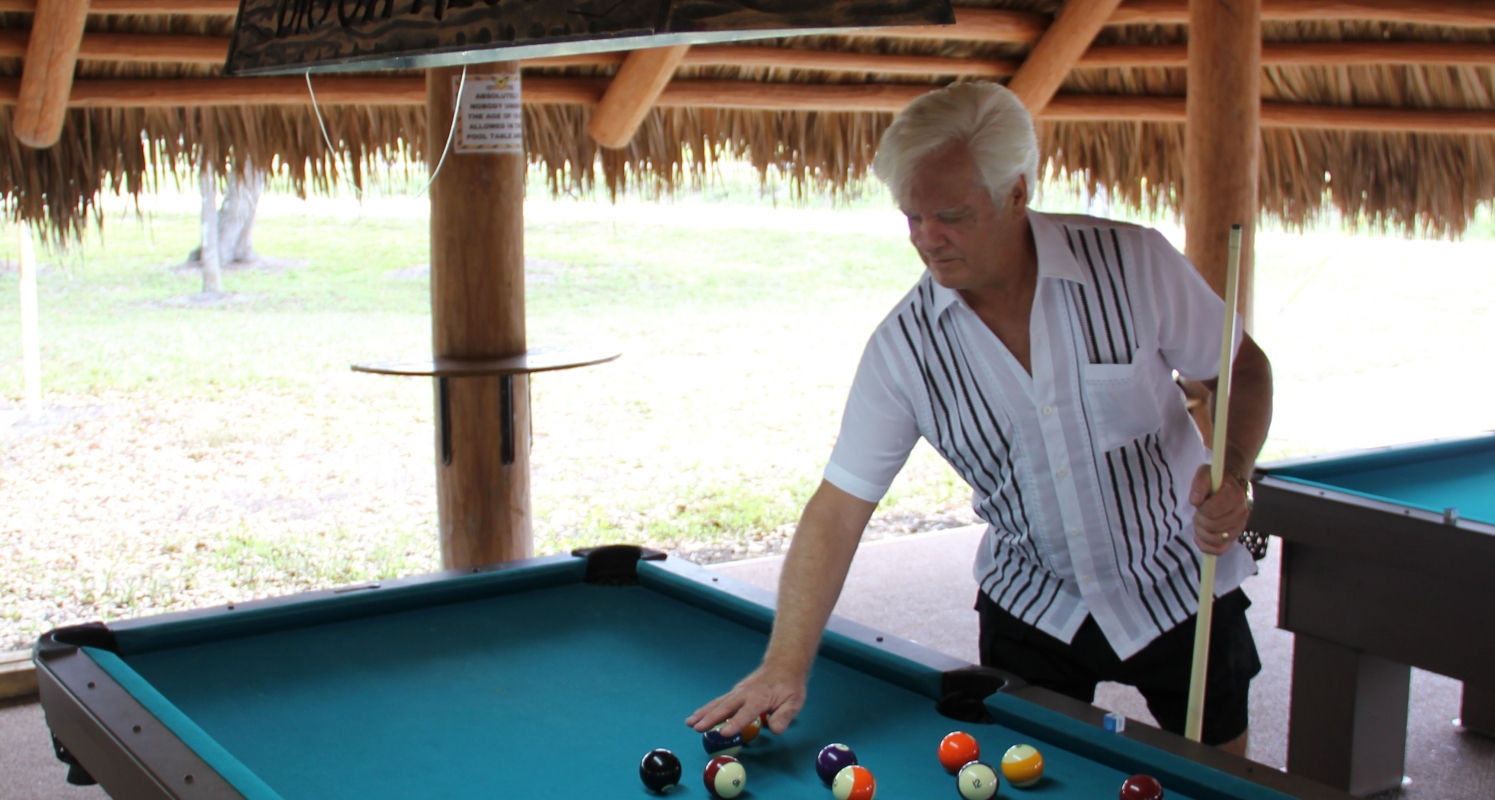Outdoor 8 Ball Pool Tables under Seminole Chickee
