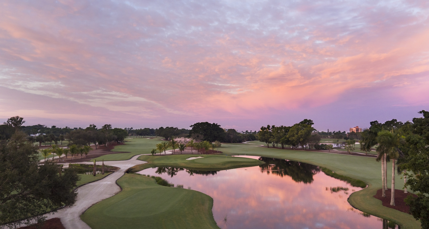 Sunrise over the public golf course at The Naples Beach Hotel & Golf Club