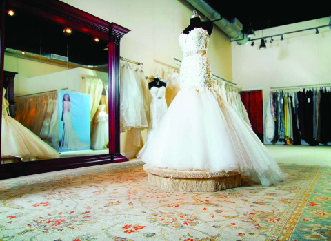 A wedding gown on display at Kelly Chase Couture in Naples, Florida