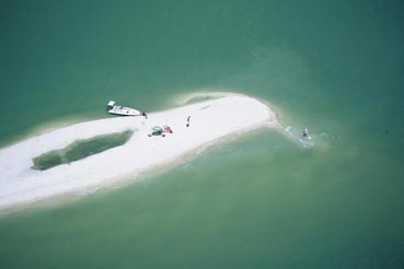 Aerial view of a secluded beach in Marco Island, Florida