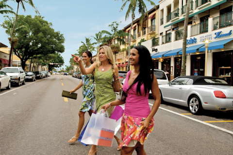 A group of friends shopping in Naples, Florida.
