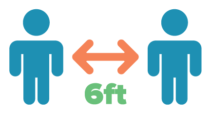 An icon showing two individuals six feet apart to demonstrate social distancing