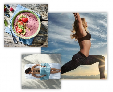 a photo collage of a strawberry smoothie bowl, woman doing yoga on the beach and woman with paddleboard