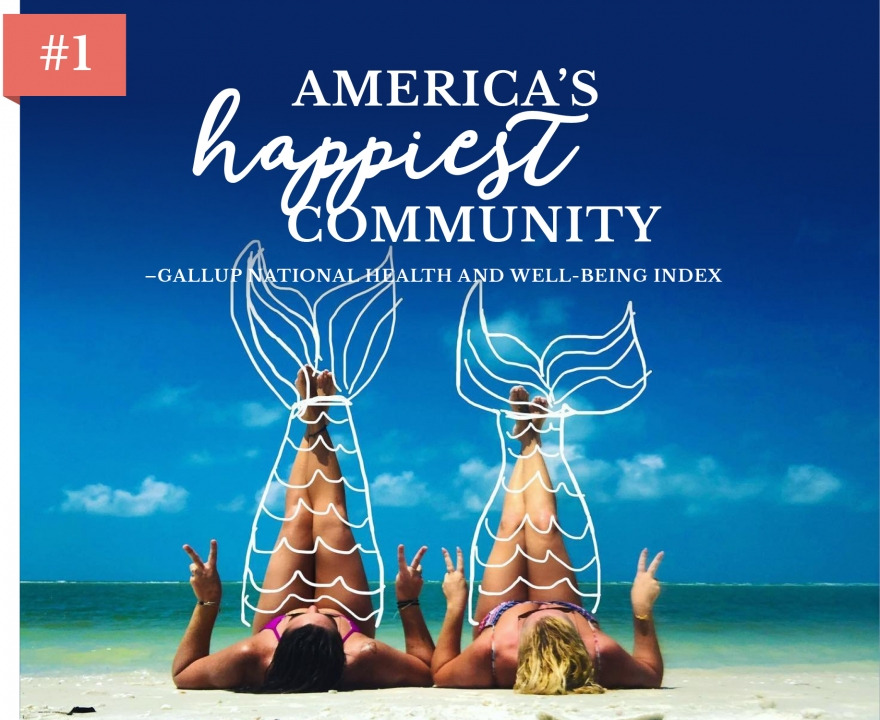Two girls on a beach in Naples with their legs in the air with handdrawn mermaid tails as an overlay; America's Happiest Community - Gallup National Health and Well-Being Index