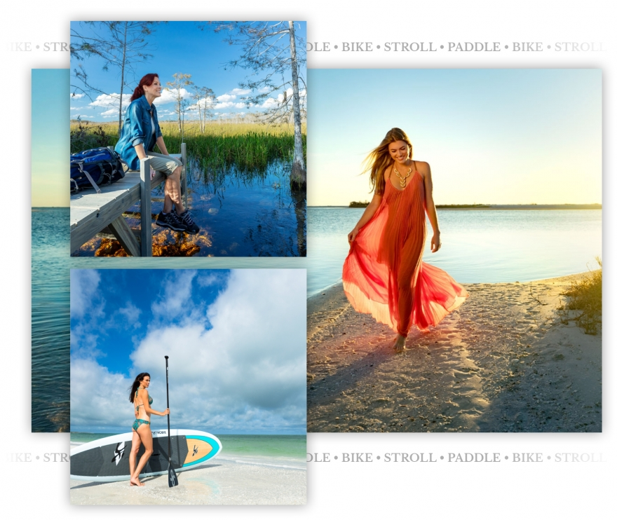A photo collage of strolling on the beach, reflecting on a dock in the everglades, and a woman with a paddleboard on the shore.