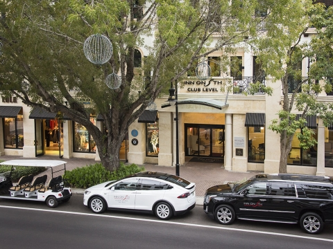 Teslas are available for concierge at this Naples luxury hotel.