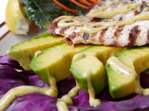Voodoo blackened Mahi with Florida avocados and key lime creme sauce.