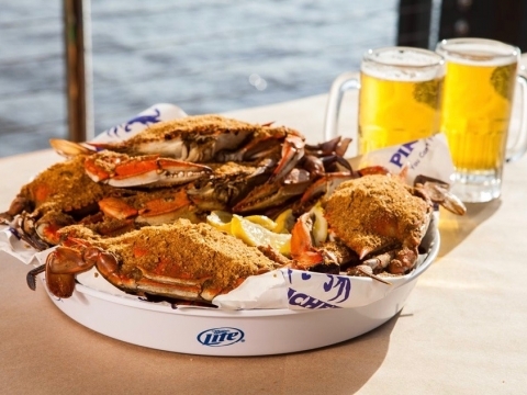 Fresh steamed blue crab at Pinchers