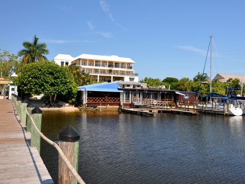 The Dock restaurant viewed from Naples City Dock.