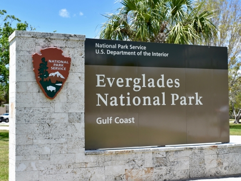 Gulf Coast entrance to Everglades National Park in Everglades City, Florida