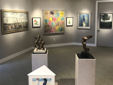 a sampling of the work on display at Harmon-Meek Gallery. shown here are works by Hunt Slonem, Robert Kipniss, Adolf Dehn, Richard Segalman, Gary Bukovnik, Milton Hebald, Anita Huffington and Robert Vickrey