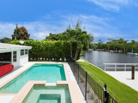 Pool Overlooking Canal at Harbor Lane Bungalow