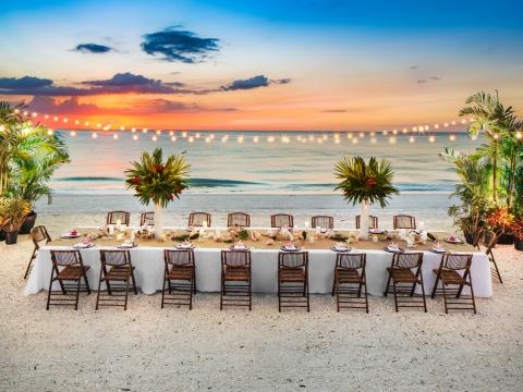 Wedding dinner on the beach at the Hilton Marco Island Beach Resort.
