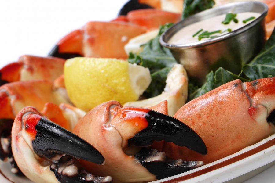 Fresh stone crab claws served in season October 15-May 15.