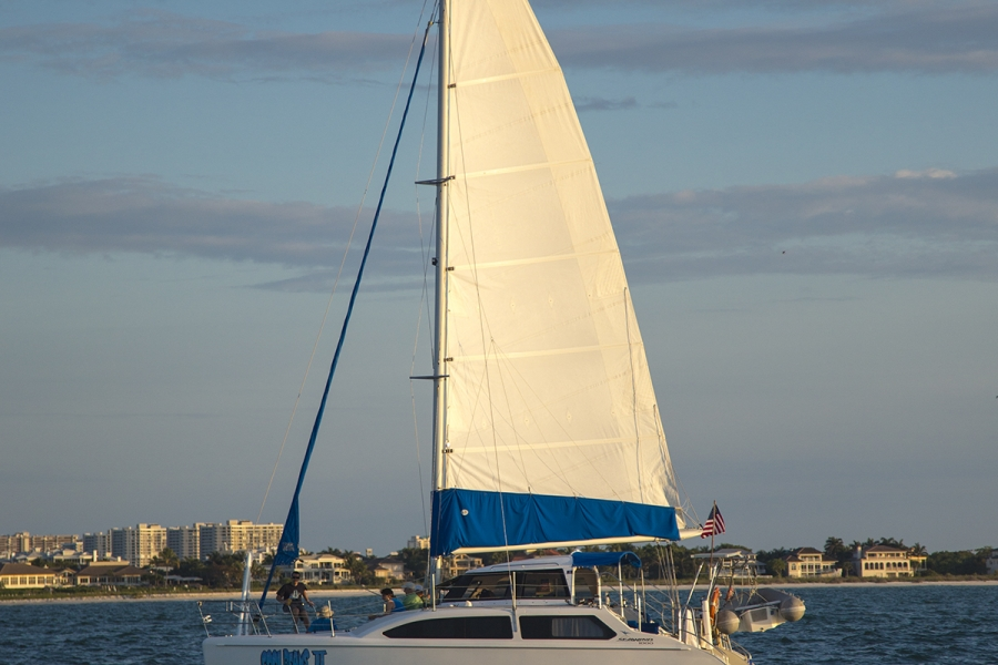33 ft. Catamaran, named Cool Beans II, will accommodate up to 6 passengers