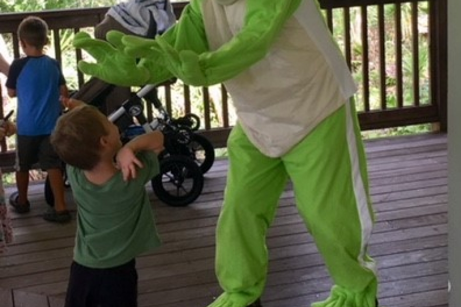 Giant Green Tree Frog and friend at Family Funday Summer 2018