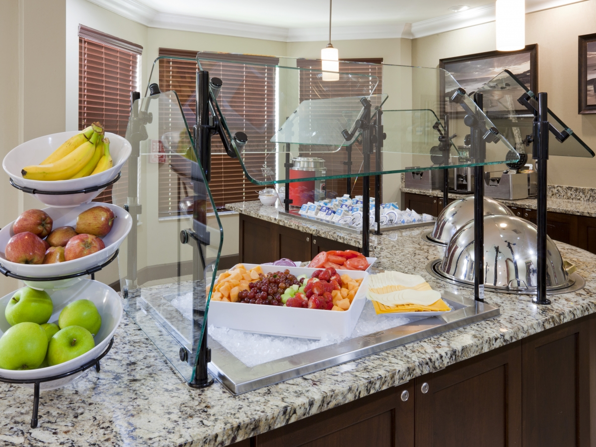 Free breakfast, served every day with fresh fruit, oatmeal, eggs, and a meat entree.