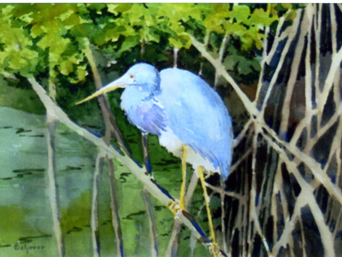 """""""Little Blue,"""" by artist Joan Scherer; """"Winner's Circle"""""""