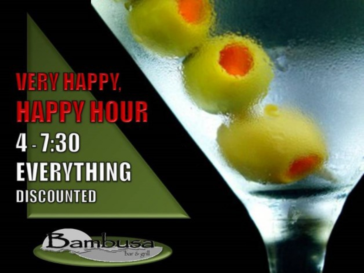 Happy Hour 4 PM-7:30 PM Daily