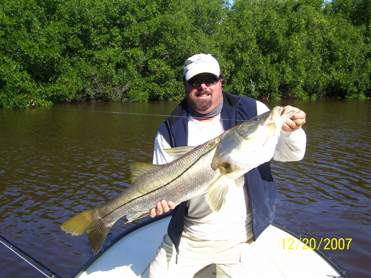 Huge Snook caught in the back Creeks of The Everglades 8wt. Fly Rod HJB Fly