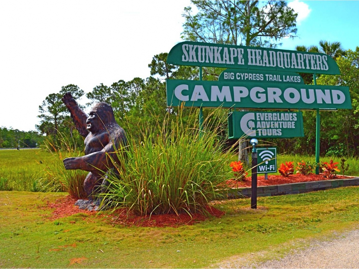 Watch for the Skunk Ape statue on Tamiami Trail east of Naples, Florida