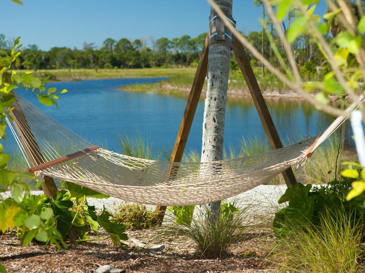 Hammock in the Caribbean Garden overlooking West Lake