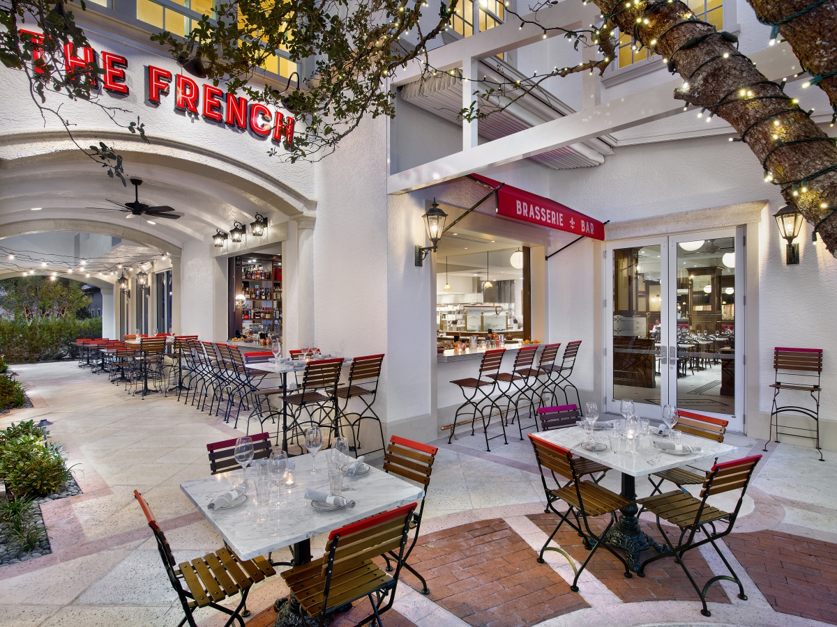 The French front entrance and courtyard dining