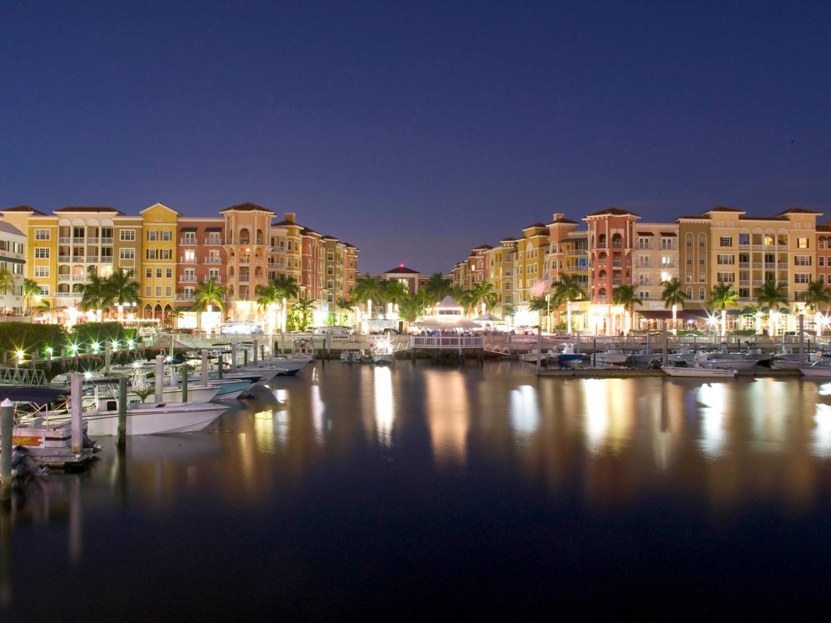 Bayfront Naples at night
