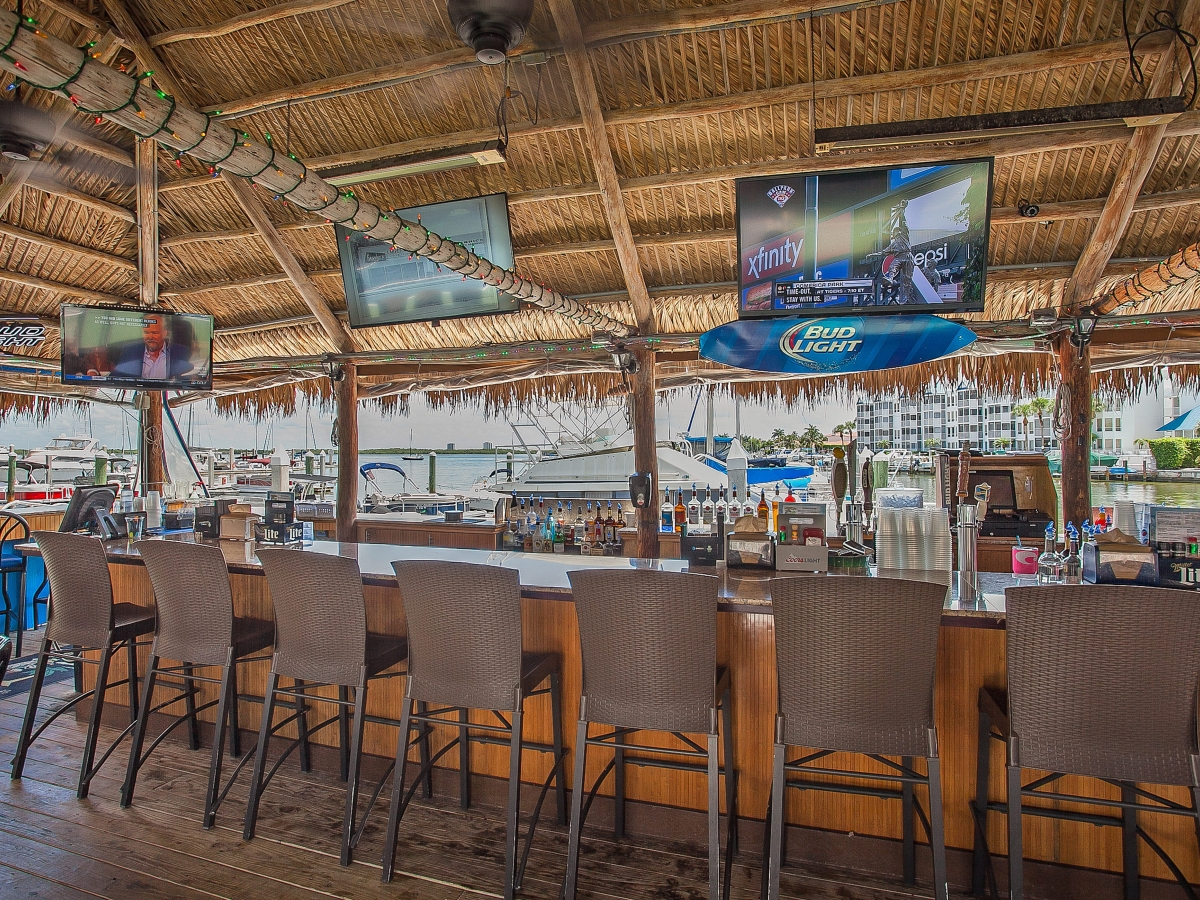 World Famous bayfront Dolphin Tiki Bar & Restaurant