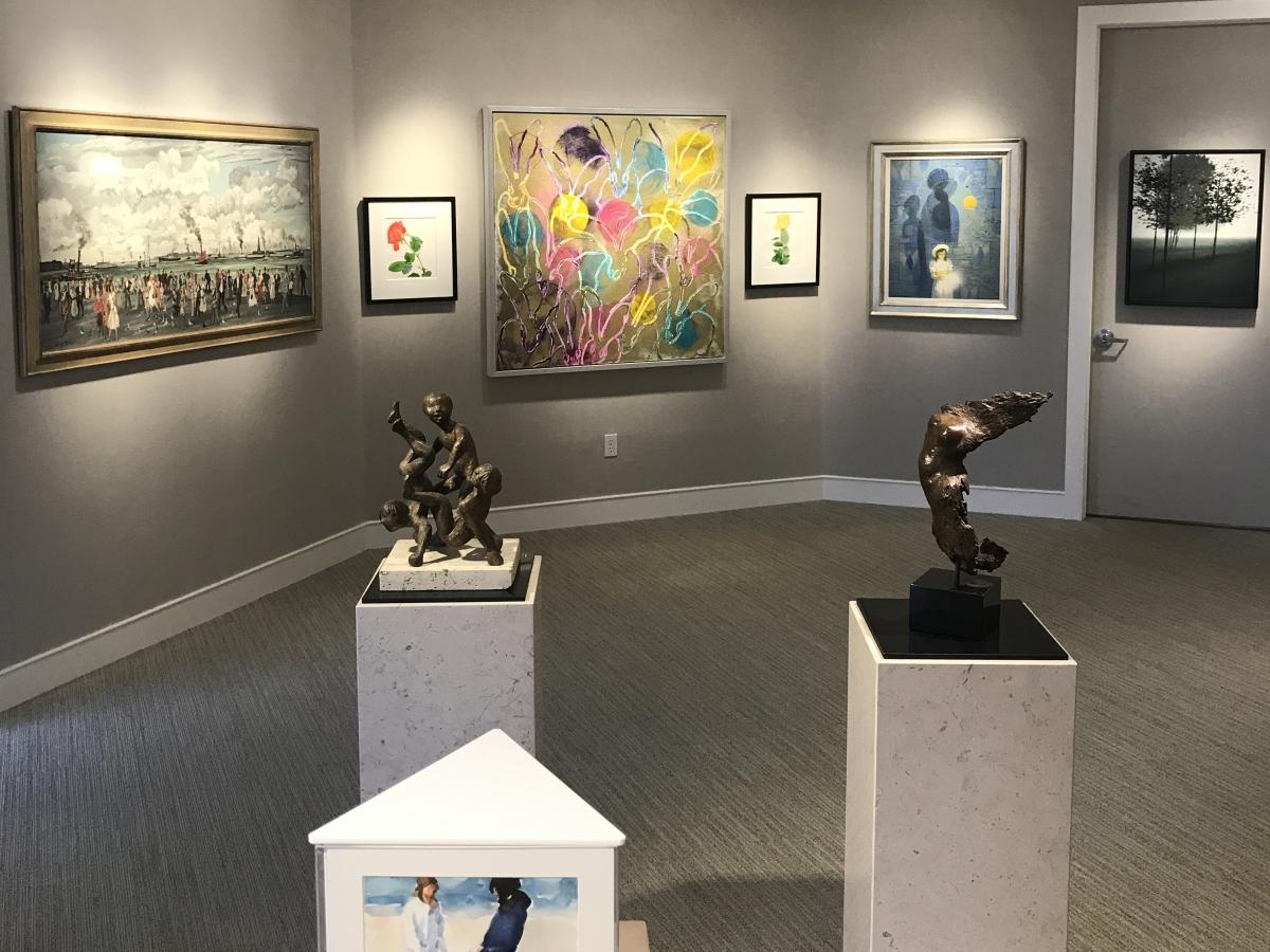 a sampling of the work on display at Harmon-Meek Gallery. shown here are works by Hunt Slonem, Robert Kipniss, Adolf Dehn, Richard Segalman, Gary Bukovnik, Milton Hebald, Anita Huffington and Robert Vickrey
