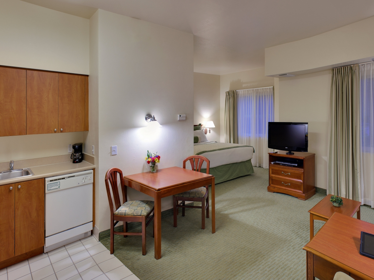 The Spacious Studio Suite complete with living area and sleeper sofa!