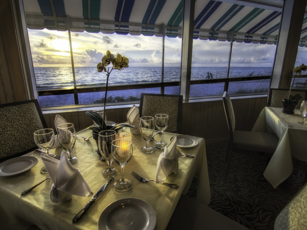 HB's on the Gulf features indoor dining, as well as an outdoor terrace