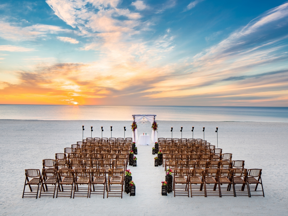 Beachfront weddings at Hilton Marco Island
