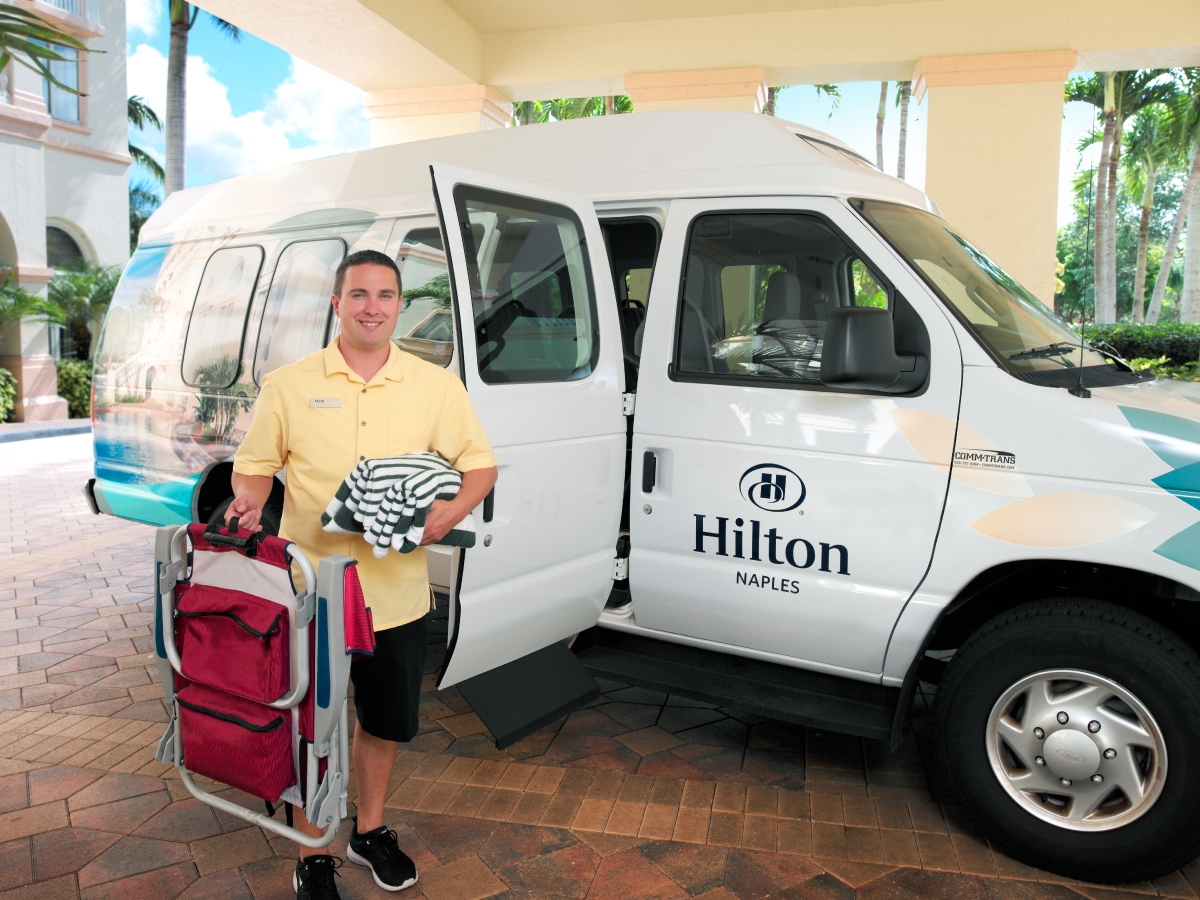 Hilton Naples Complimentary Beach Package Includes Beach Shuttle, Chairs, Towels